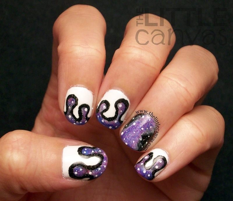 Galaxy Paint Drip Nails nail art by The Little Canvas