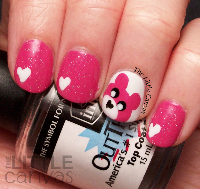 Pink Teddy Bears nail art by The Little Canvas