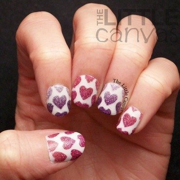 Pixie Dust Hearts nail art by The Little Canvas
