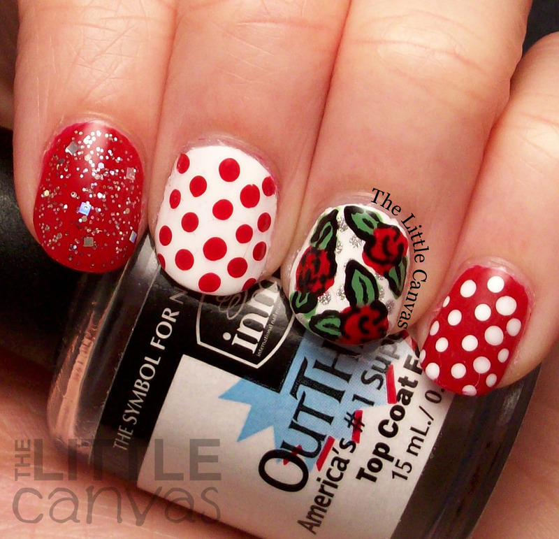 Red Rose and Dot Mani nail art by The Little Canvas