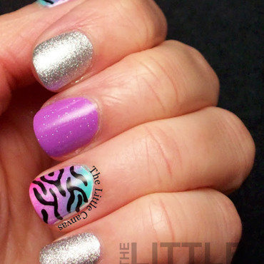 Neon Gradient with Zebra Print nail art by The Little Canvas
