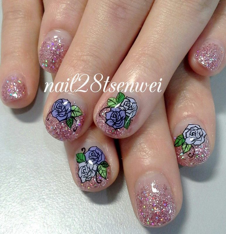 rose nail art by Weiwei