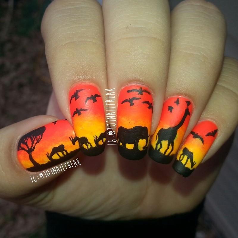 Sunset Safari nail art by Selena  Lopez