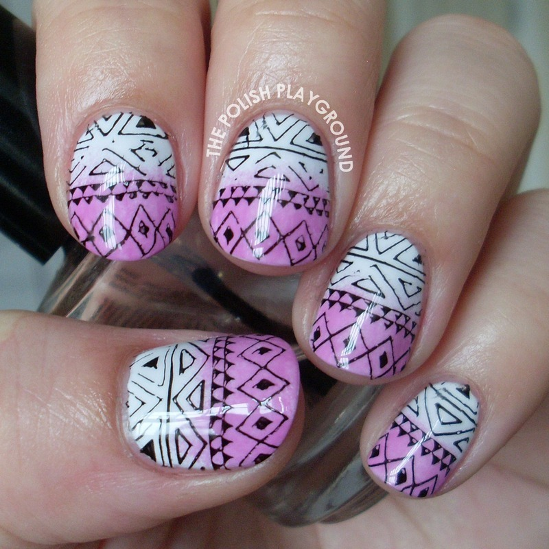 Purple Gradient Tribal Print Stamping nail art by Lisa N