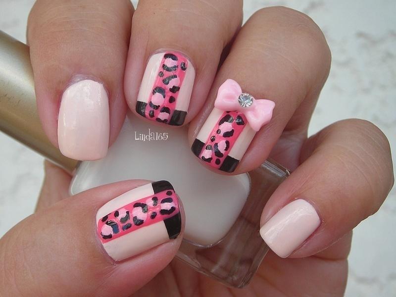 Pink Leopard nail art by Iliana S.