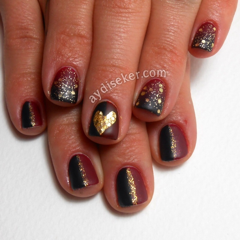 Burgundy & Black & Gold nail art by Aydi Seker