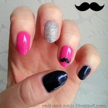 Moustache mani  nail art by Redhead Nails
