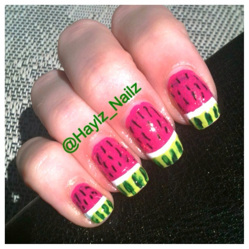 Watermelons nail art by Hayley