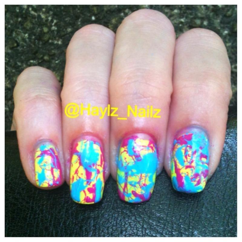 Splatter  nail art by Hayley