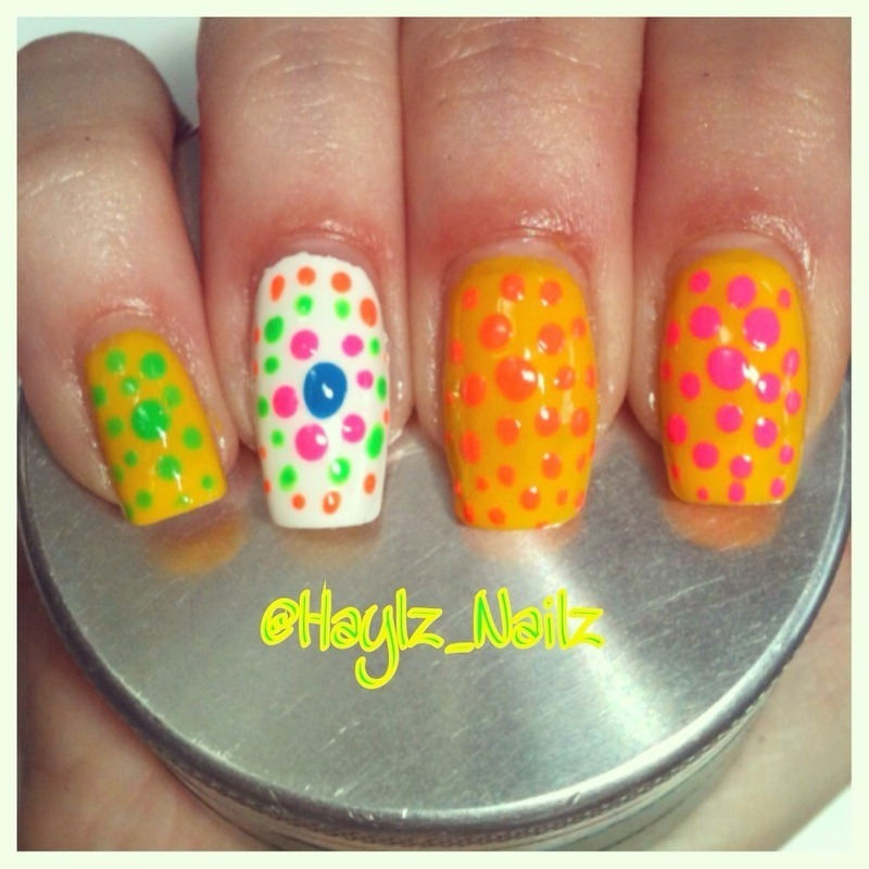 Crazy dots nail art by Hayley