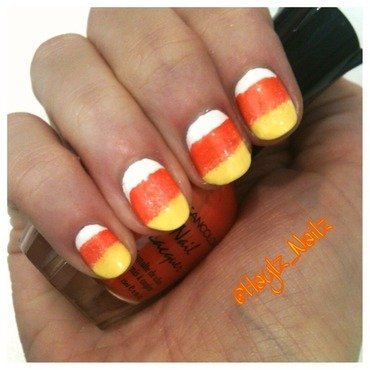 Candy corn nail art by Hayley