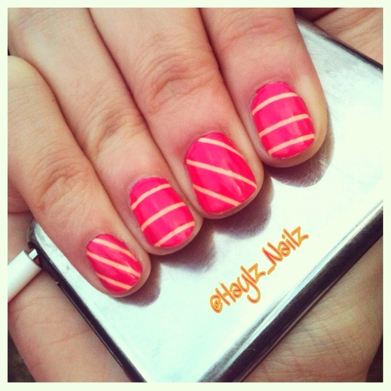 Stripes nail art by Hayley