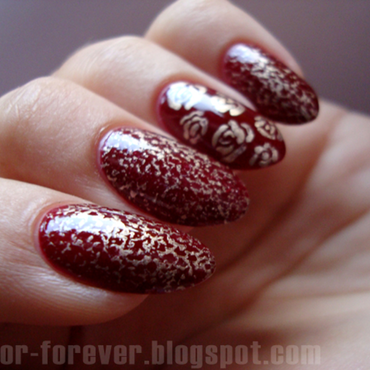 marble & gold roses nail art by ania