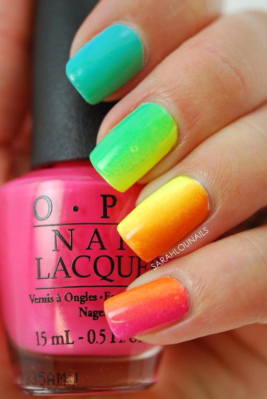 Rainbow Gradient Nails! nail art by Sarah S