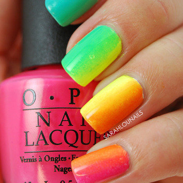Rainbow Gradient Nails! nail art by Sarah S