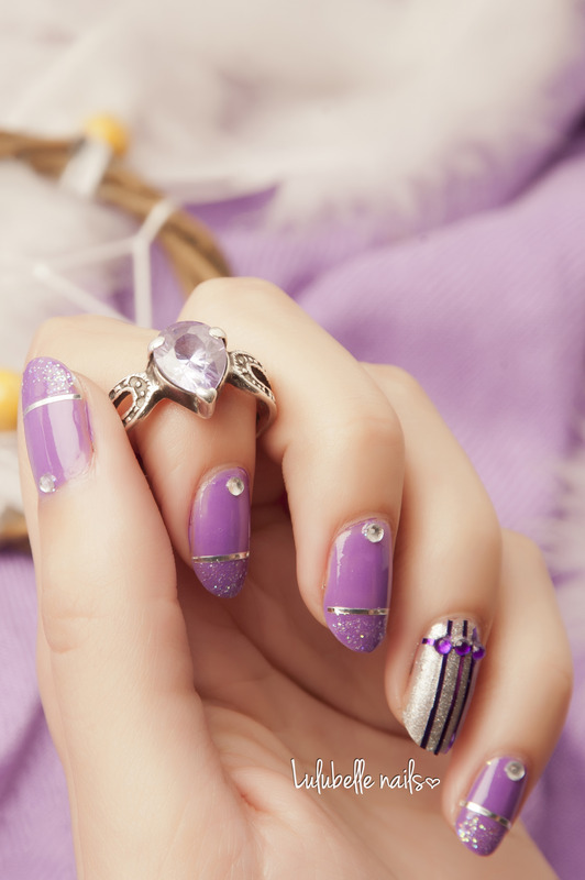 Purple Love nail art by Andy