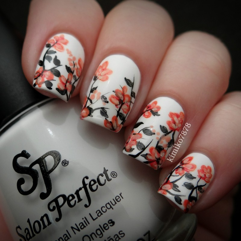 Floral Nail Art: White And Orange Spring Floral Nail Art By Kim