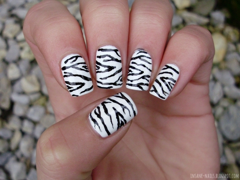 Zebra nails nail art by Sanela