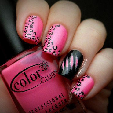 Pink Leopard with Claw Marks nail art by Kim