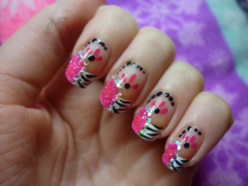 Nailart | French Zebra Flowers  nail art by Mandy
