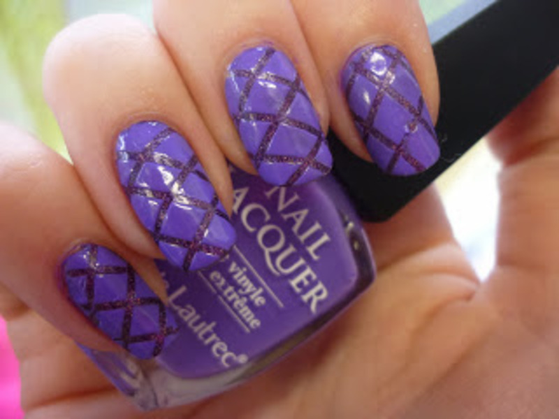 Nailart: Purple stripes  nail art by Mandy