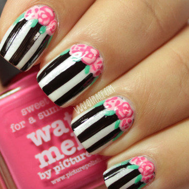 Vintage rose and stripes nail art nail art by Mattania
