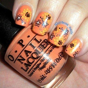 Mango sunflowers nail art by Meilina