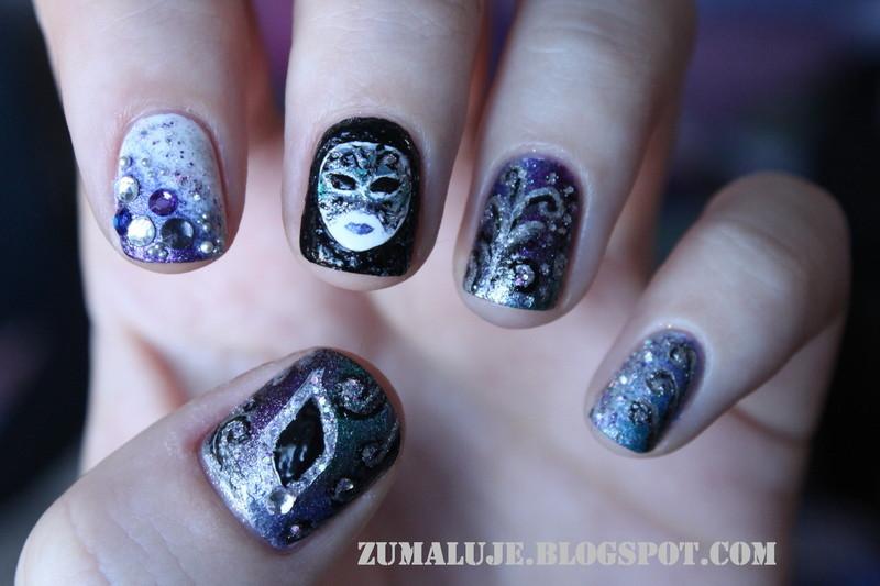 carnival in venice nail art by Zu