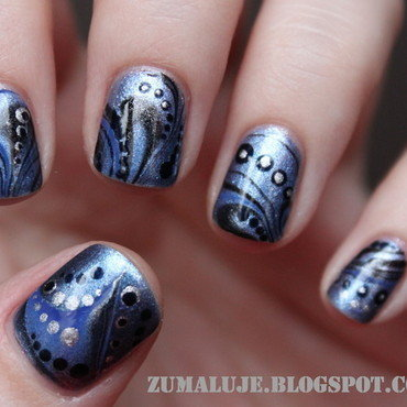waves nail art by Zu