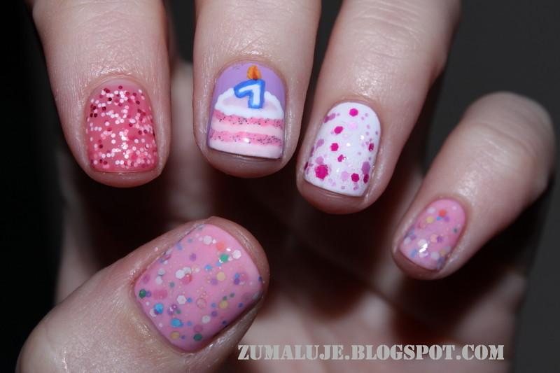 1st birthday  nail art by Zu