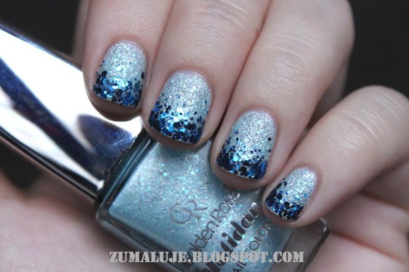 sandy glitter nail art by Zu