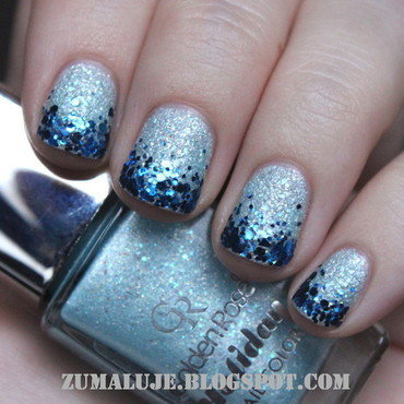 sandy glitter nail art by Zu