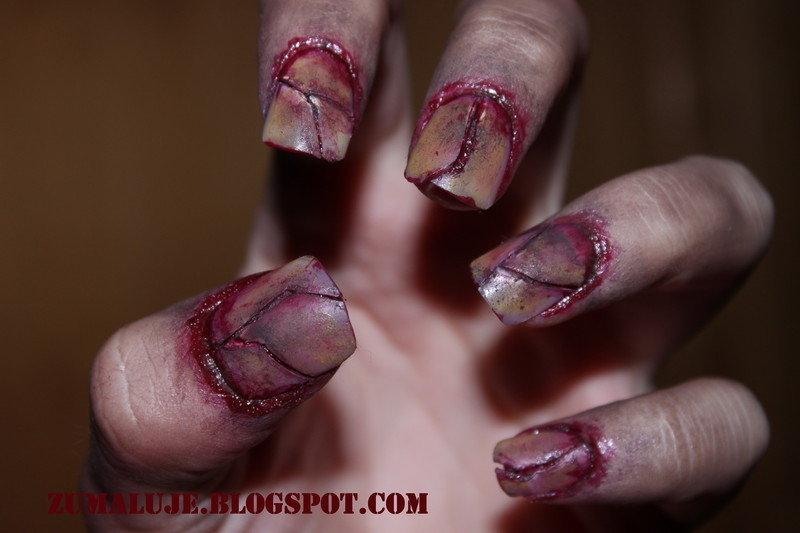 zombie nails nail art by Zu