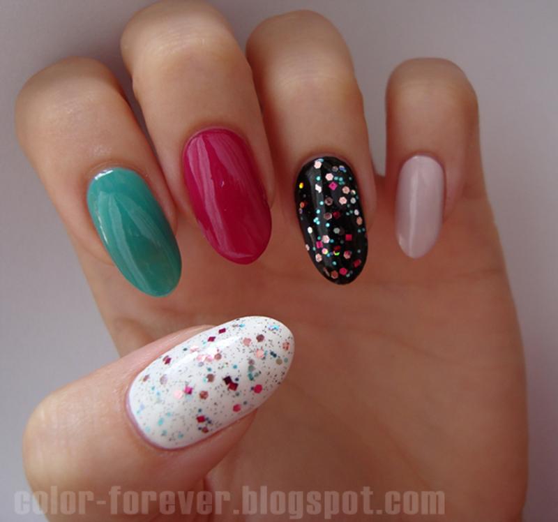 skittles & glitter nail art by ania