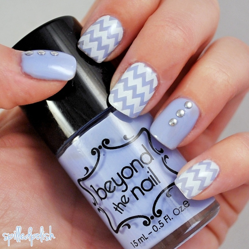 Pastel Blue Chevron nail art by Maddy S