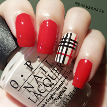 Burberry inspired nail art by Priscilla  Lim