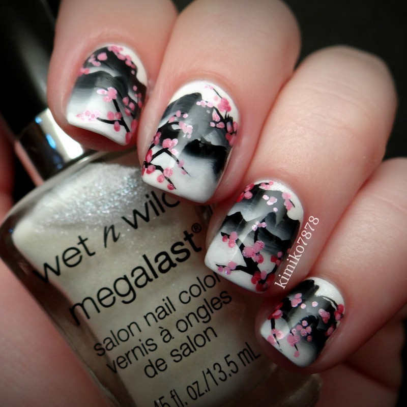 Mountain Cherry Blossoms Nail Art By Kim Nailpolis Museum Of