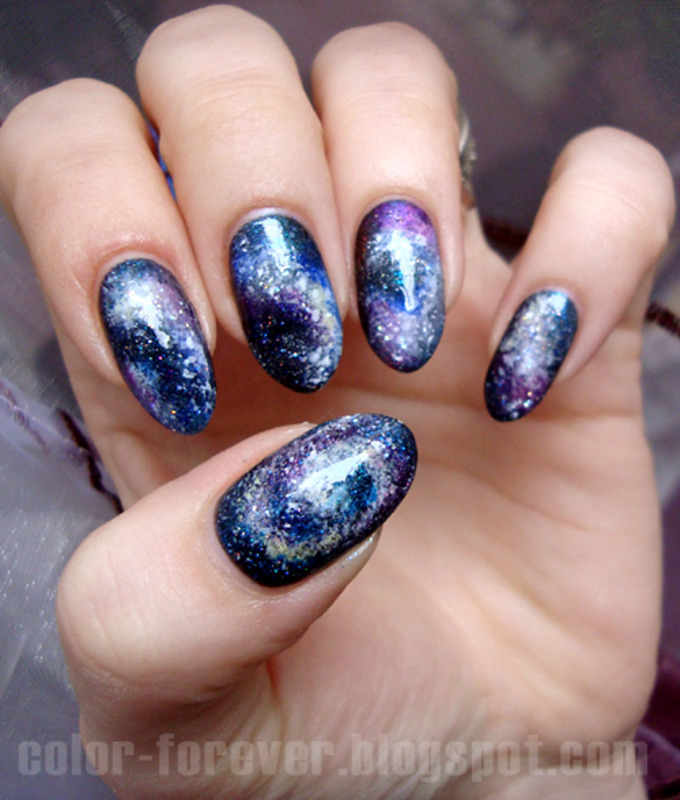 galaxy nails nail art by ania
