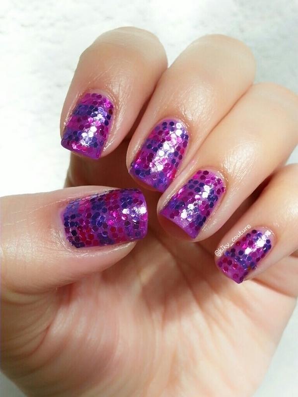 Girly Glitter nail art by Ximena Echenique