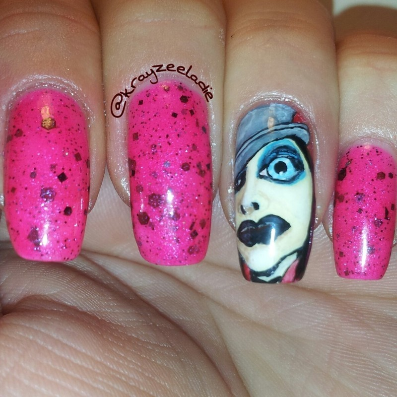 Manson Tainted Love nail art by Amy