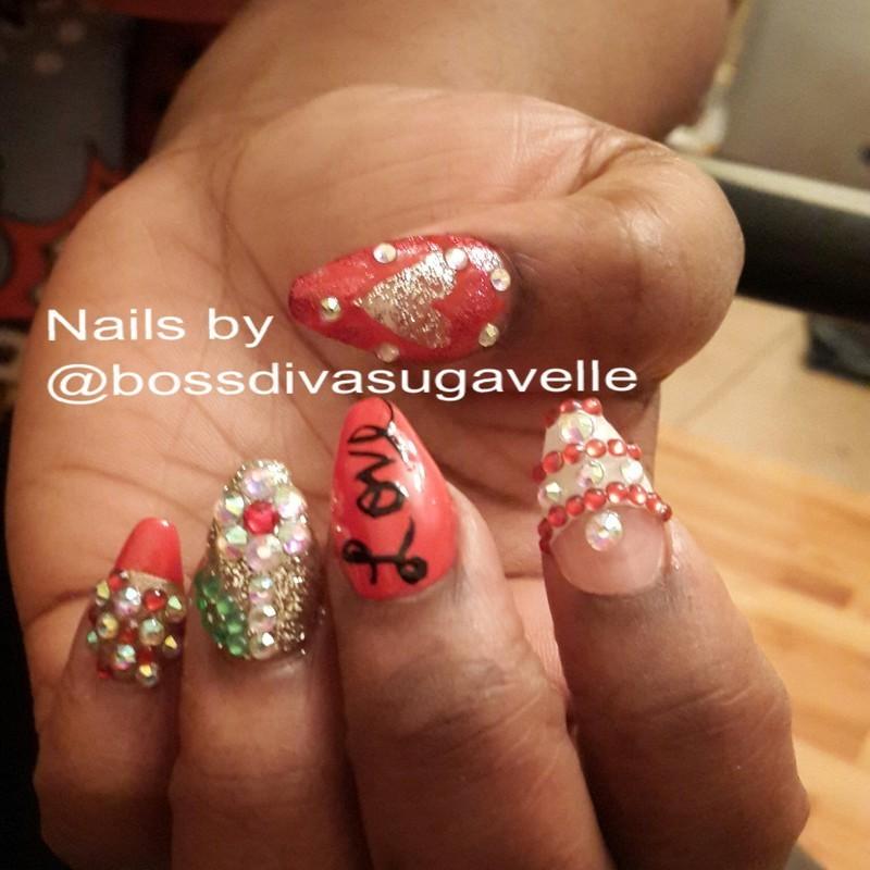 Valentine's Day design nail art by Sugarthenailboss