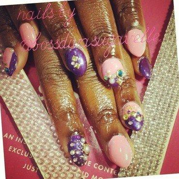 Pink n purple clash nail art by Sugarthenailboss