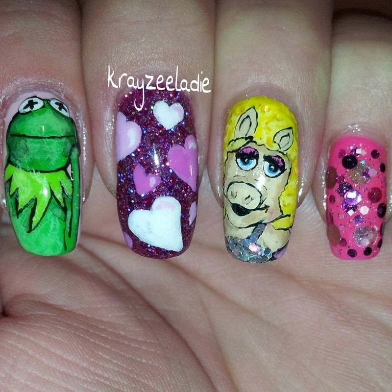 kermie & miss piggy at the disco nail art by Amy