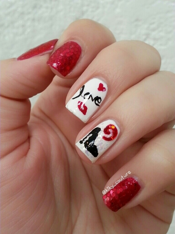 Love & Fashion nail art by Ximena Echenique