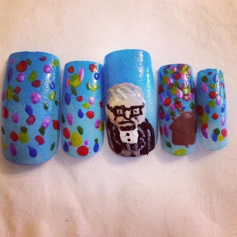 Disney 'up' nails nail art by Nickysnails