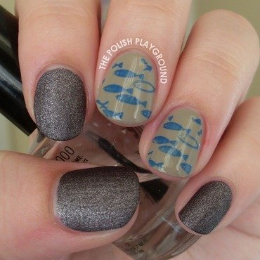 Blue swimming fish stamping nail art thumb370f
