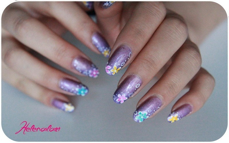 Aqua flower nail art by LÊ Hélène