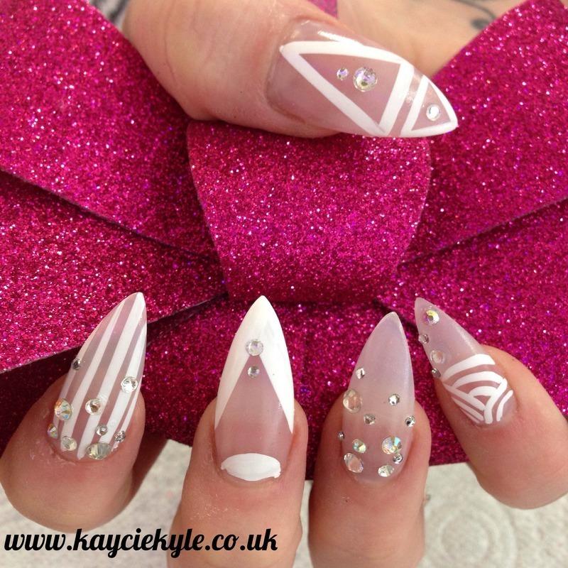 White on natural  nail art by Kaycie Kyle