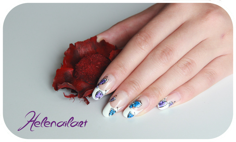 French butterfly nail art by LÊ Hélène