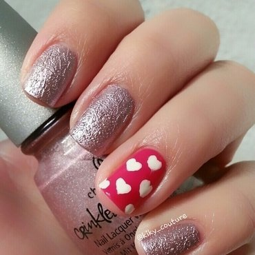 Foil and Hearts nail art by Ximena Echenique